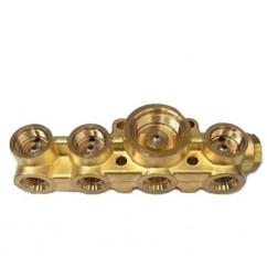 Bloque de latón con inserciones de acero inoxidable 4 válvulas solenoides